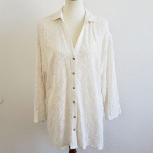 Akemi + Kin Cream Lace Button Down Top Mediu.